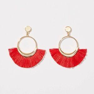 NWT Loft Red Fringe Earrings